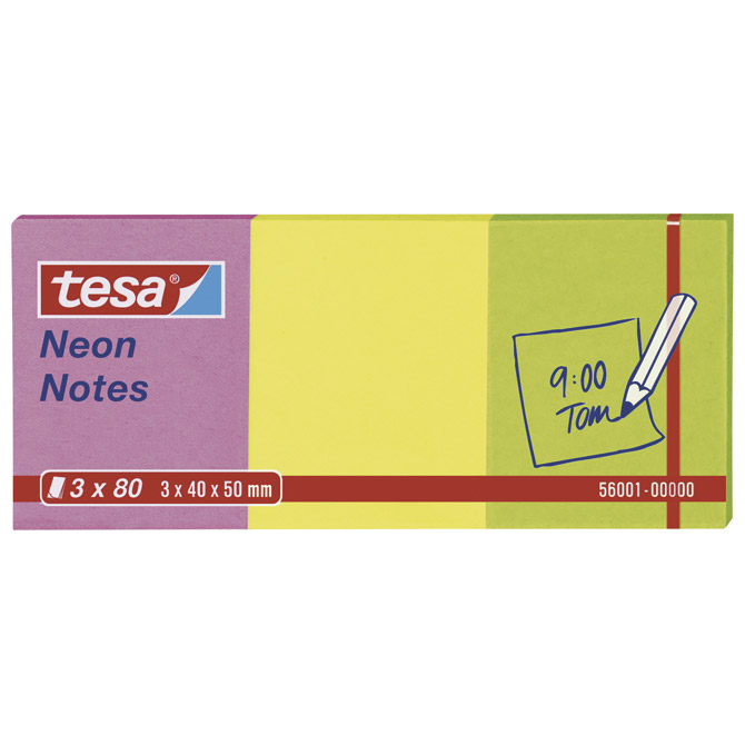 Blok samoljepljiv  40x50mm 3x80L Neon notes Tesa 56001 neon mix Cijena