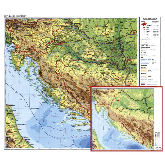 Karta Hrvatske 56x49 Plastificirana Obostrana Trsat Prodaja