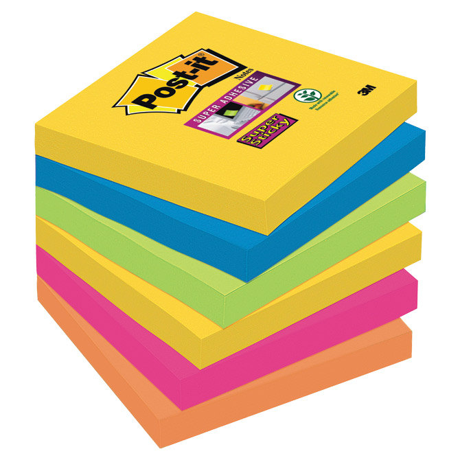 Blok samoljepljiv  76x76mm 6x90L Post-it  Super Sticky 3M.654-6SS-RIO Cijena